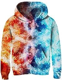 Funnycokid Kinder Hoodies 3D Drucken Langarm Jungen Mädchen Pullover Hoody  Sweatshirt mit Taschen 6-16 07bac25cfc