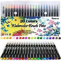 Lot de 20 stylos pinceaux - Fournitures artistiques - Pour livres de coloriage, à faire soi-même - Esquisses, carnet, calligraphie, peinture - Pinceau à eau avec pointe feutre inclus