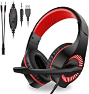 Moglor Cuffie Gaming PS4 PC Antirumore Over Ear con Microfono Xbox One 7.1 Bass Stereo Suono Surround virtuale 3.5mm Jack Reg
