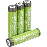 Amazon Basics AAA High-Capacity Rechargeable Batteries, Pre-charged - Pack of 4 (Appearance may vary)