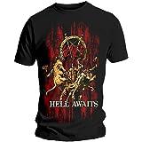 Rockoff Trade Men's Slayer Hell Awaits Black XL T-Shirt, Black (Black Black), X-Large