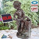 """FUENTE SOLAR - FUENTE SOLAR para EXTERIOR """"Joven con bomba de mano"""" - FUENTE de AGUA SOLAR - FUENTE SOLAR - FUENTE en CASCADA - FUENTE de AGUA DECORATIVA fuente de agua para el jardín"""