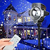 Snowfall Light Projector, AVEKI Rotating Waterproof White Snowflake Fairy Landscape Projection Lights with Wireless Remote for Outdoor Wedding Christmas Halloween Holiday Outside Decoration (snowfall)