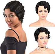 Allnice Short Curly Finger Wave Wig Remy Human Hair Wigs Real Retro African Afro Hair For Women Natural Looking (1#)