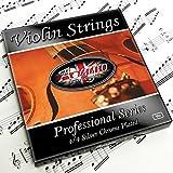 Adagio Pro- Set di corde per violino argento, classiche 4/4, con gancini sferici all'estremità, per accordature da concerto