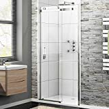 1200 x 900 Frameless 8mm Sliding Easy Clean Glass Shower Enclosure Door   Tray Set
