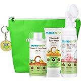 Mamaearth Natural Cleanse & Tone Kit with Free Bag( Vitamin C - Face Wash 100ml + Vitamin C Toner 200ml + Micellar Water Foam
