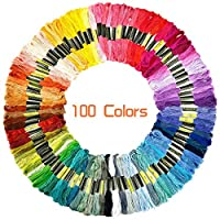 Dainerisy 100pcs/set Cross Stitch Cotton Embroidery Threads Mix Colors Knitting Skeins DIY Sewing Six-Strand Yarn Thread
