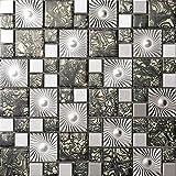 Patrón negro Mosaico de vidrio de acero inoxidable Azulejos de mosaico color mixto acero inoxidable mosaico 300*300mm Cocina backsplash / ducha de pared de la pared de la pared / Hotel pasillo pared de la frontera / piso residencial de piso y aplicaciones de la pared SA073-38 (1 pieza)
