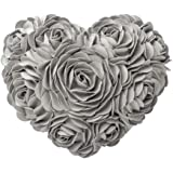 JWH 3D Rose Flower Handmade Accent Pillow Valentine's Day Cushion Decorative Heart Shape Pillow Case Home Couch Bed Living Gu