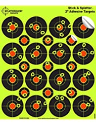 """25 Pack - (400) 2"""" """"Stick & Splatter"""" Adhesive SPLATTERBURST Shooting Targets - Instantly See Your Shots Burst Bright Fluorescent Yellow Upon Impact - Great for all firearms, rifles, pistols, AirSoft, BB & Pellet guns!"""