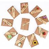 10pcs(10.5x7cm) Tarjeta de Felicitación Papel Kraft Sobres Pequeños Navidad Fiesta Boda con Flores Secas Postal para Regalo C