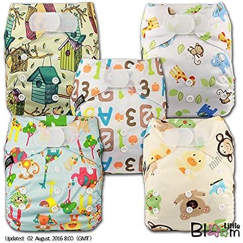 LittleBloom Panno Pannolini Lavabili Tasca Pannolino Riutilizzabile, Di Fissaggio: VELCRO, Set Di 5
