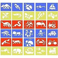 BUZIFU Plantillas de Dibujo(30 Unidades), Plantillas de Dibujos para Niños Plantillas de Plástico Flexibles, Animales, Insectos, Transportes y Dinosaurios, para Aprenden a Dibujar de Forma Divertida