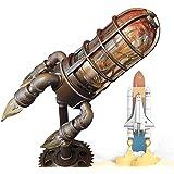 Steampunk raketlamp met 4 E-12 lampen tafellamp, retro raketlamp, steampunk stijl, industriële raketlamp, creatieve raketlamp