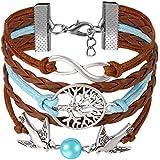 JewelryWe Pulsera Infinito Infinity Brazalete de Hilos y Cuero Trenzado, Pajaros de Amor Azul Marron, Pulsera Boho Chic Colores para el Verano, Vintage Pulseras de Mujer Original 2017
