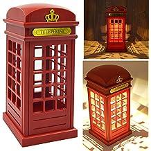 Vococal - Cabina telefónica Vintage Londres diseñado USB LED noche Touch Sensor mesa escritorio lámpara de