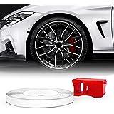 4R Quattroerre.it 10350 Wheel Trim Tiras Adhesivas Reflectantes con Aplicador para Llantas de Coche, Blancas, 5 mm x 6 MT