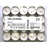 Ikea Glimma - 100 tealight candles, Duration 4 Hours, Color: White