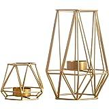 Nuptio 2 sztuki metalowych świeczników typu tealight w kształcie sześciokątnym, geometryczne wzornictwo, świecznik wotywny, ż