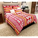 Home Candy 144 TC Floral Cotton Kids Double Bedsheet with 2 Pillow Covers - Red (CTN-BST-320)
