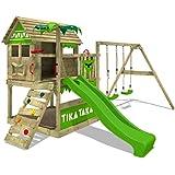 FATMOOSE Parco giochi in legno TikaTaka Giochi da giardino con altalena e scivolo mela verde, Casa su palafitte da esterno co