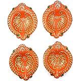 Diwali Diya Set Of 4 Handmade Earthen Clay Terracotta Decorative Dipawali Diya Diwali Diya Oil Lamps For Pooja Diwali Deepak Fancy Diya For Rongali - B075VF6B6N