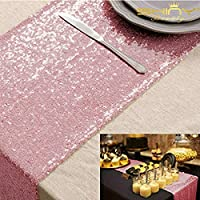 ShinyBeauty Sparkly Sequin Table Runner Pink Gold for Wedding/Events Decoration 30*180cm( Can Choose Your Color) (Pink Gold)