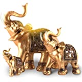 KH Elephant Statues with Trunk Raised Collectible Figurines Home Decor Crafts Golden Elephant Decoration (M)