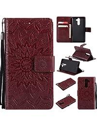 Carcasa Nokia 9, cartera Flip PU Cuero Ultra Slim Delgada Luxe Premium Magnético con tapa protectora antigolpes con soporte Slots de tarjetas Case Cover Funda–Funda Carcasa de Protección para Nokia 9, marrón
