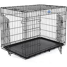 Songmics Jaula metálica para perro gato conejo Plegable Transportable 122 x 76 x 81 cm colores opcionales (negro)