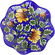 Aditya Blue Art Pottery Ceramic Ceramic Decorative Wall (Multi-Color, 13 cm x 13 cm x 3 cm)