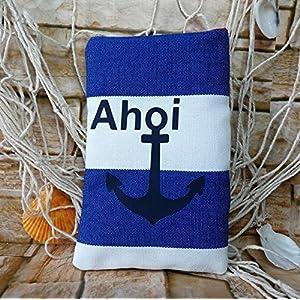 Brillenetui - Handmade - maritim Anker Ahoi - Größe 9,5 x 15 cm