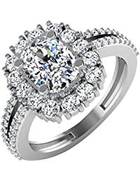 IskiUski White Gold And American Diamond Ring For Women