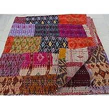 Tribal Asian Textiles - Colcha de patchwork, estilo hindú vintage, hecha a mano, seda hindú