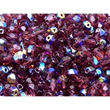 50 pcs Checa facetado cuentas de vidrio, ronda fire-polished tamaño 6mm Amethyst Transparent AB