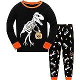 DHASIUE Pijama de Halloween para niños, 100% algodón para niños, pijamas de calabaza, linterna de manga larga, ropa de dormir