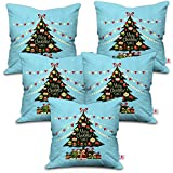 [Sponsored]Indibni Christmas Gifts Merry Christmas Quote Decorated Xmas Tree With Ornaments And Gifts Underneath Blue Cushion Cover 12x12 With Filler Set Of 5 - Gift For Birthday, Anniversary, Home Decor