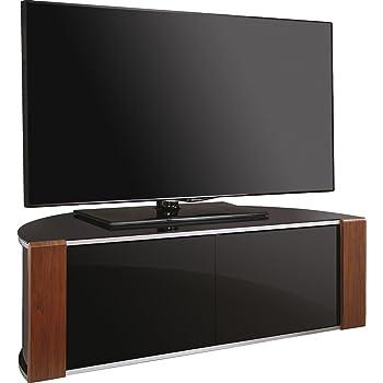 MDA Designs Sirius 1200 Walnut & Piano Black Beam Thru Remote Friendly TV Cabinet