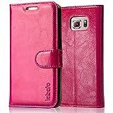 Labato Ledertasche Samsung Galaxy S6 Handyhülle, Visitenkartenfach und Aufstellfunktion, Leder, pink, Lbt-SM6-01Z33