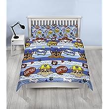 Paw Patrol Peek - Copripiumino matrimoniale per ragazzi, design reversibile su due lati, set di biancheria da letto per bambini con federe abbinate