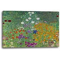 Gustav Klimt - Bauerngarten (1907), 80x60 cm, Leinwand auf Keilrahmen gespannt und fertig zum Aufhängen, Stilrichtung: Jugendstil, Symbolismus, Moderne Kunst, Wiener Secession, Klassizismus, Realismus, Surrealismus, Romantik