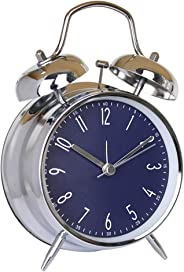 Time Vanguard Classic Double Bell Alarm Clock Bedside Silent Non-Ticking (Blue)