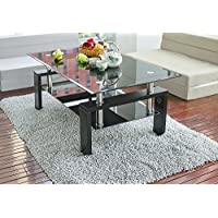 Leisure Zone  Glass living Room Coffee Table Black Modern Rectangle With Lower Shelf Wooden Legs(Black)