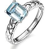 Kardy Elegante disegno Marine blu Pietra preziosa Acquamarina 585/1000 (14 carats) 14K Oro bianco nuziale Nozze Promettere Da