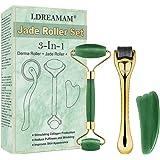 Rullo di giada,Derma Roller,3 in 1 Rullo per trattamento pelle del viso con microaghi,Massaggiatore viso anti-età con strumen
