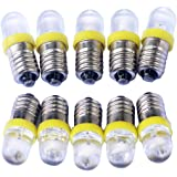 GutReise 10 stks E10 12 V gele spot LED lamp lampen + 10 stks E10 basis (12 V, geel)