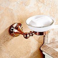 Rame sapone solido, doccia montato a parete portasapone, rosa antico oro (Bronzo Rame Accenti)