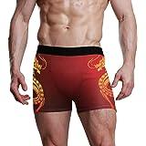 XiangHeFu Slip da Uomo Boxer Art Chinese Dragon Pattern Stretch Mutande Traspiranti