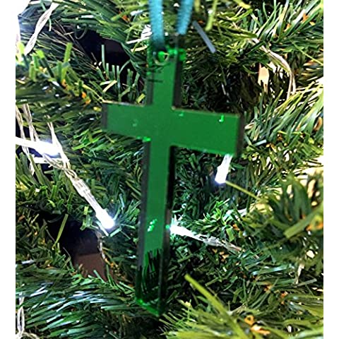 Albero di Natale Decorazione - Crocifisso - Verde a Specchio - Confezione da Dieci